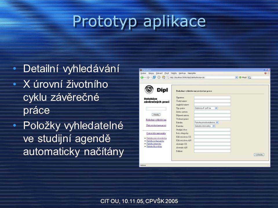 CIT OU, 10.11.05, CPVŠK 2005 Prototyp aplikace Detailní vyhledávání X úrovní životního cyklu závěrečné práce Položky vyhledatelné ve studijní agendě automaticky načítány