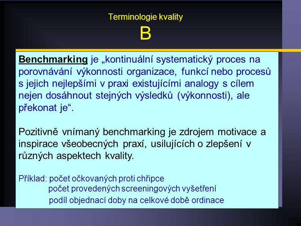 """Terminologie kvality B Benchmarking je """"kontinuální systematický proces na porovnávání výkonnosti organizace, funkcí nebo procesů s jejich nejlepšími v praxi existujícími analogy s cílem nejen dosáhnout stejných výsledků (výkonnosti), ale překonat je ."""