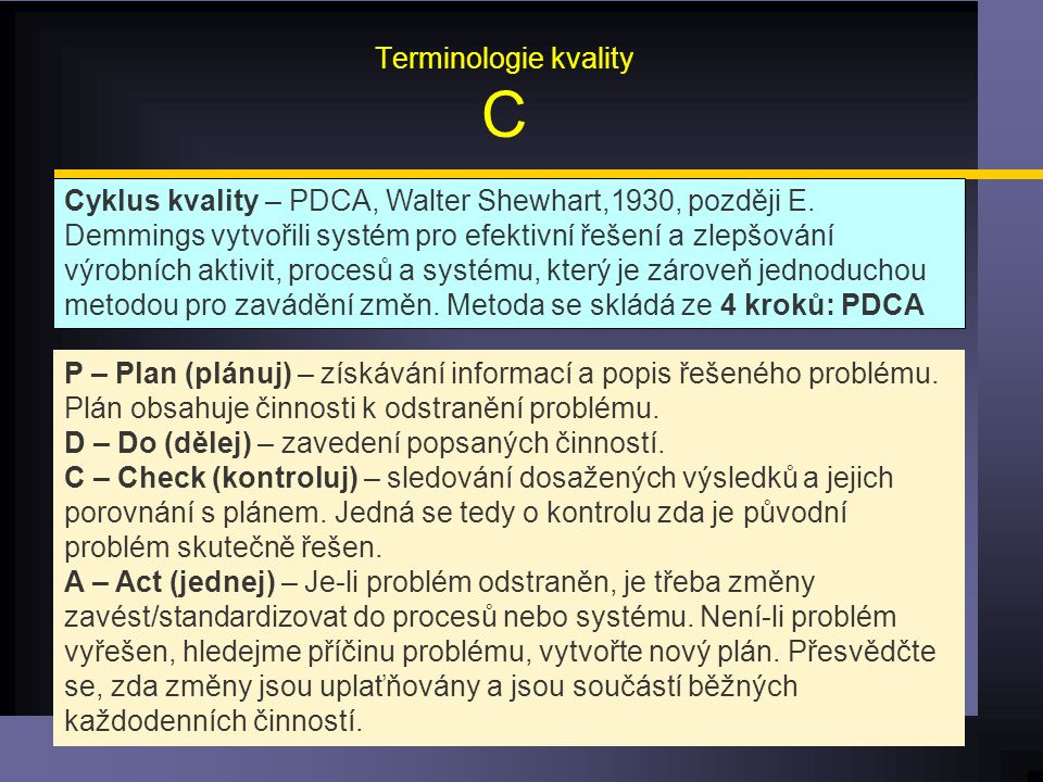 Terminologie kvality C Cyklus kvality – PDCA, Walter Shewhart,1930, později E.