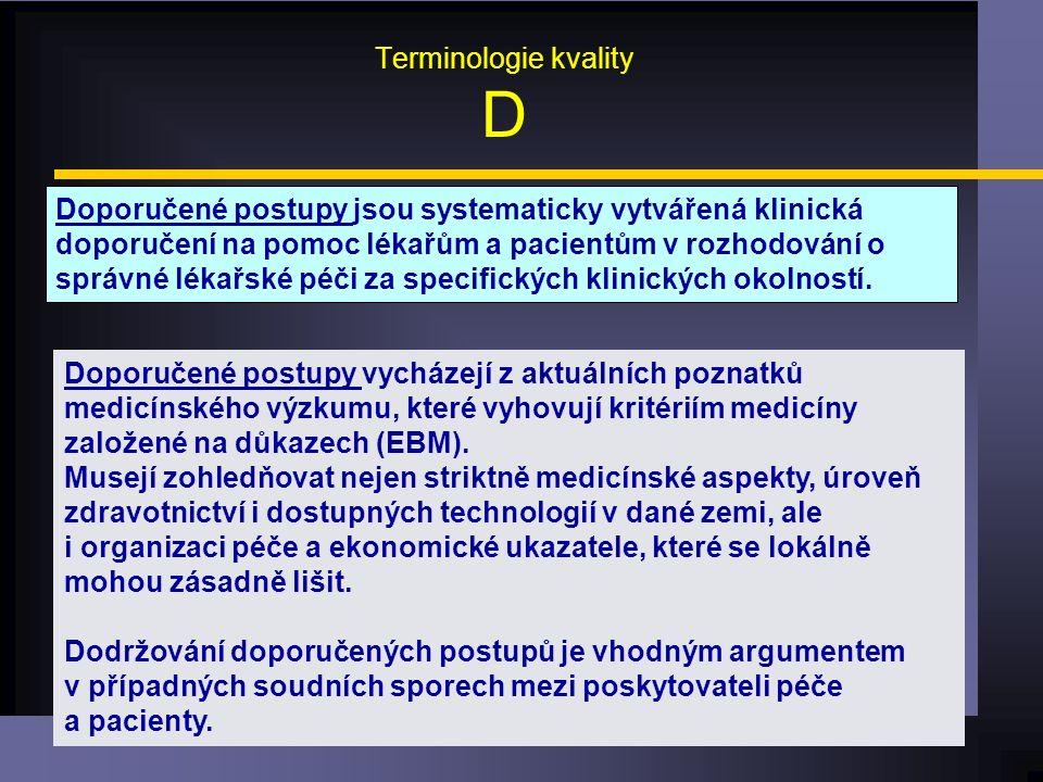 Terminologie kvality D Doporučené postupy jsou systematicky vytvářená klinická doporučení na pomoc lékařům a pacientům v rozhodování o správné lékařské péči za specifických klinických okolností.