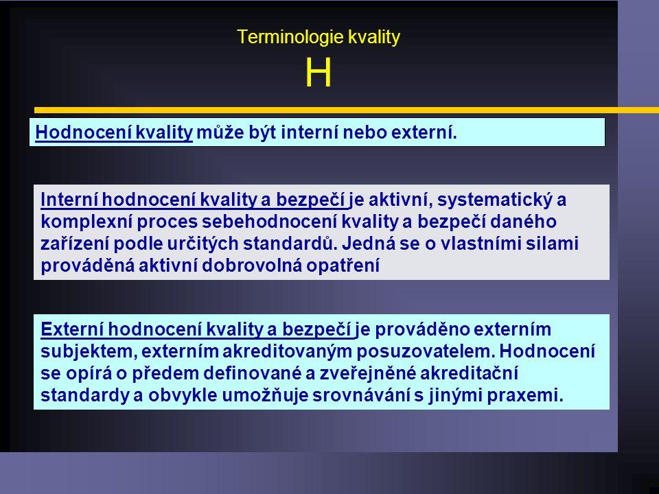 Terminologie kvality H Hodnocení kvality může být interní nebo externí.