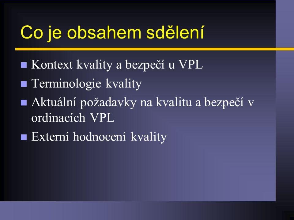 Co je obsahem sdělení n Kontext kvality a bezpečí u VPL n Terminologie kvality n Aktuální požadavky na kvalitu a bezpečí v ordinacích VPL n Externí hodnocení kvality