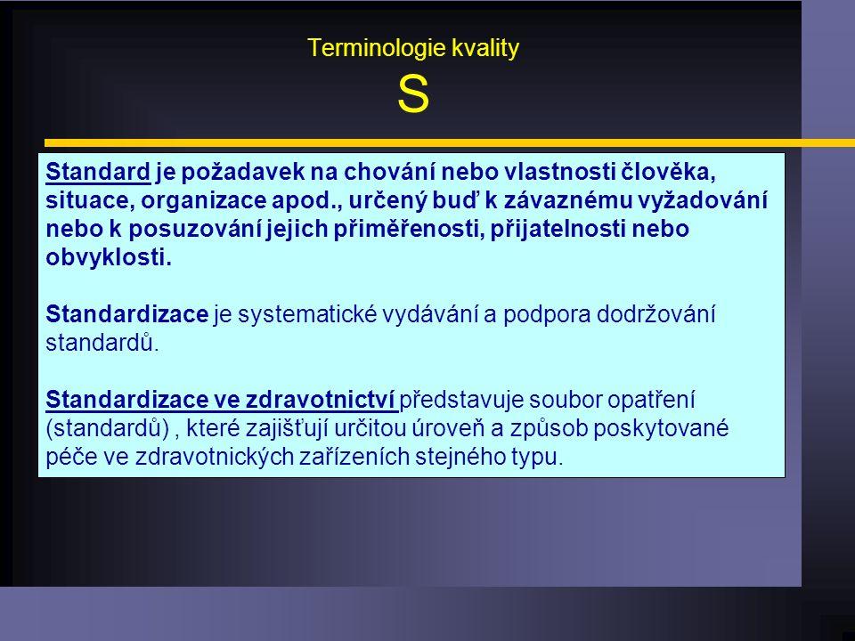 Terminologie kvality S Standard je požadavek na chování nebo vlastnosti člověka, situace, organizace apod., určený buď k závaznému vyžadování nebo k posuzování jejich přiměřenosti, přijatelnosti nebo obvyklosti.