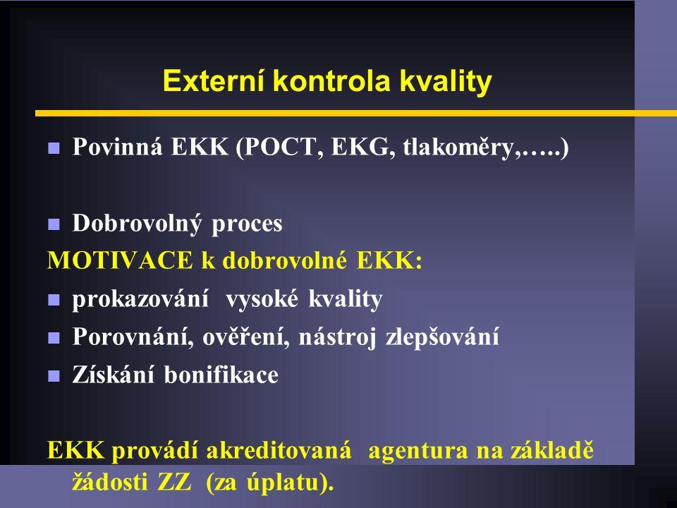 Externí kontrola kvality n Povinná EKK (POCT, EKG, tlakoměry,…..) n Dobrovolný proces MOTIVACE k dobrovolné EKK: n prokazování vysoké kvality n Porovnání, ověření, nástroj zlepšování n Získání bonifikace EKK provádí akreditovaná agentura na základě žádosti ZZ (za úplatu).