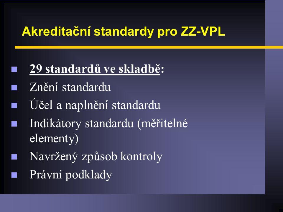 Akreditační standardy pro ZZ-VPL n 29 standardů ve skladbě: n Znění standardu n Účel a naplnění standardu n Indikátory standardu (měřitelné elementy) n Navržený způsob kontroly n Právní podklady