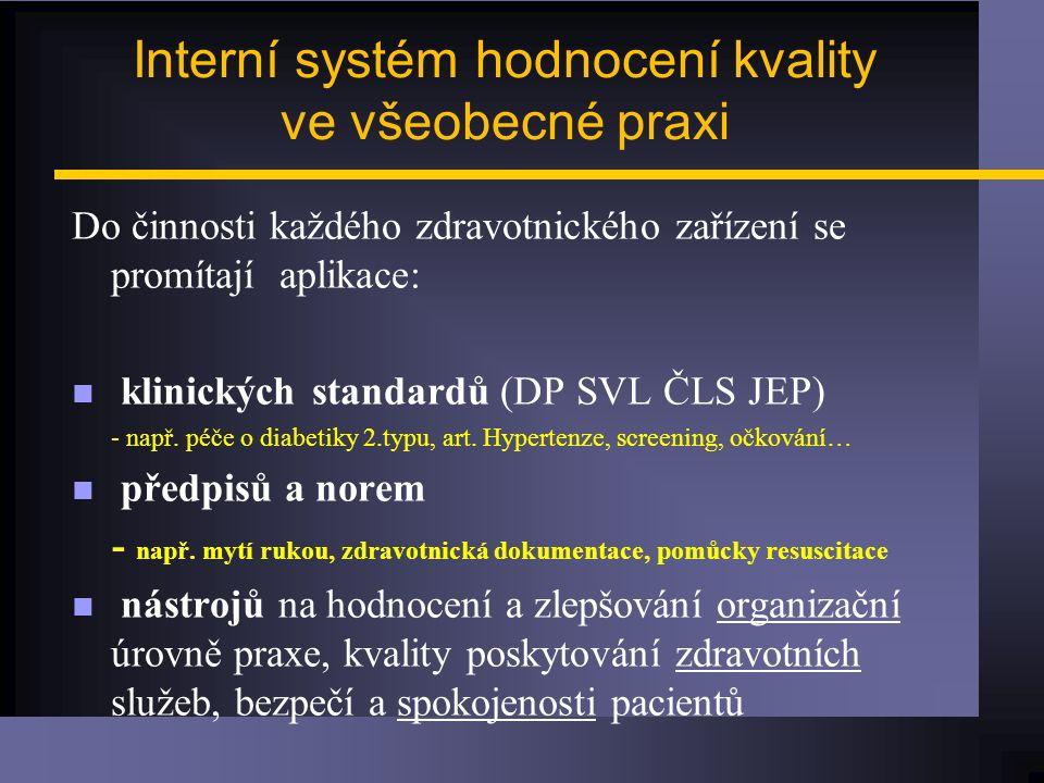 Interní systém hodnocení kvality ve všeobecné praxi Do činnosti každého zdravotnického zařízení se promítají aplikace: n klinických standardů (DP SVL ČLS JEP) - např.