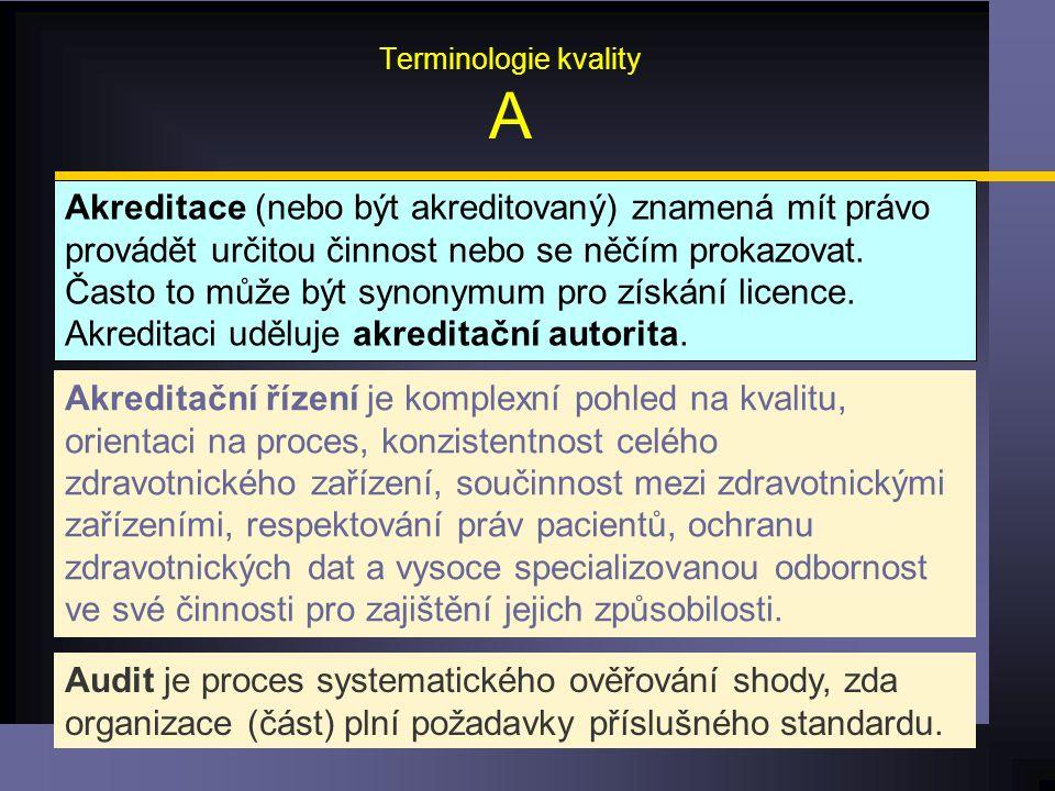 Terminologie kvality A Akreditace (nebo být akreditovaný) znamená mít právo provádět určitou činnost nebo se něčím prokazovat.