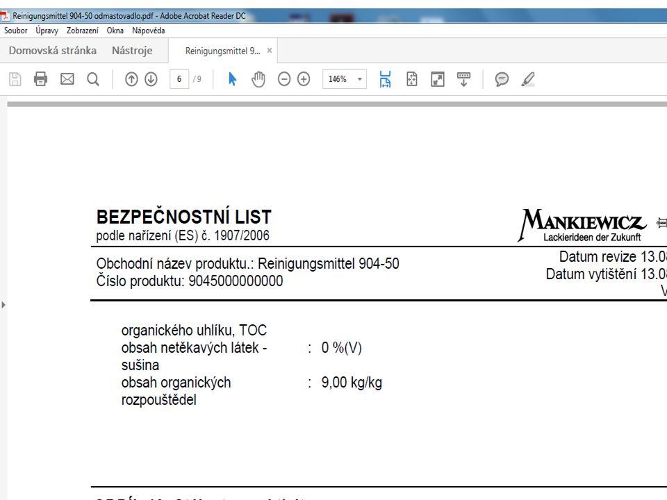 Značení surovin s obsahem VOC 12