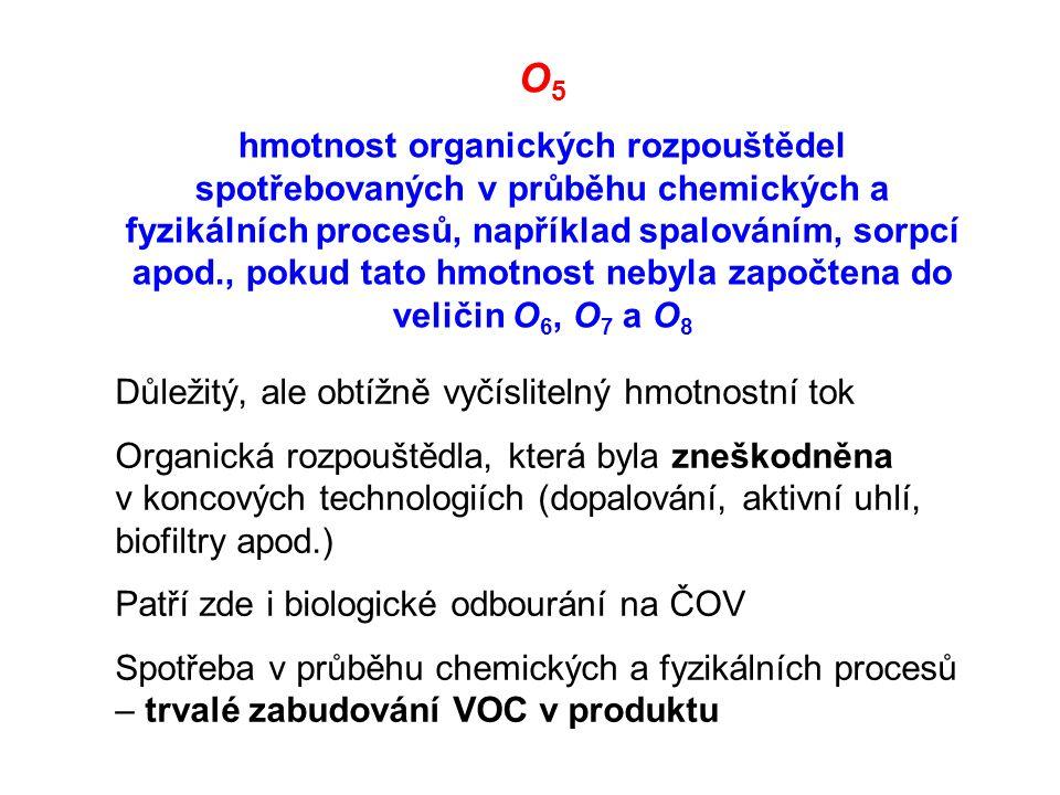 O 5 hmotnost organických rozpouštědel spotřebovaných v průběhu chemických a fyzikálních procesů, například spalováním, sorpcí apod., pokud tato hmotnost nebyla započtena do veličin O 6, O 7 a O 8 Důležitý, ale obtížně vyčíslitelný hmotnostní tok Organická rozpouštědla, která byla zneškodněna v koncových technologiích (dopalování, aktivní uhlí, biofiltry apod.) Patří zde i biologické odbourání na ČOV Spotřeba v průběhu chemických a fyzikálních procesů – trvalé zabudování VOC v produktu