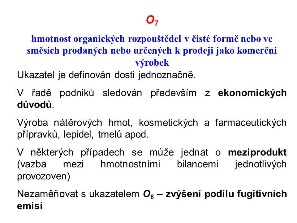 O 7 hmotnost organických rozpouštědel v čisté formě nebo ve směsích prodaných nebo určených k prodeji jako komerční výrobek Ukazatel je definován dosti jednoznačně.