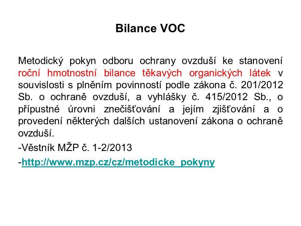 I 1 a I 2 Vstupy potřebné údaje název nebo technické označení vstupující hmoty množství - jednotky obsah VOC podíl TOC hustota podíl sušiny (datum nákupu) roční vážený průměr obsahu VOC a TOC
