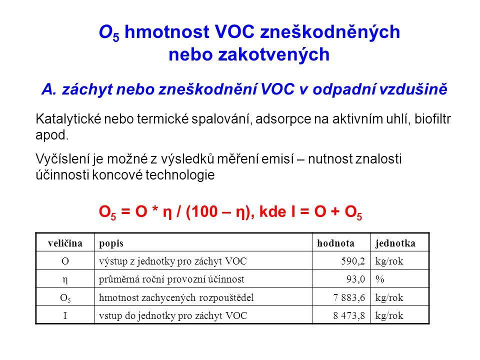 O 5 hmotnost VOC zneškodněných nebo zakotvených A.