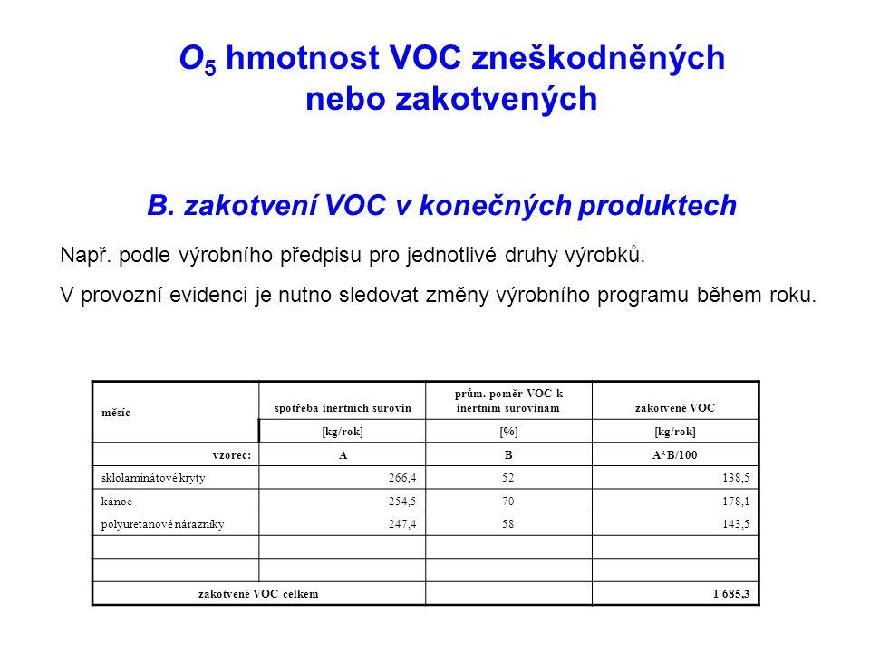 O 5 hmotnost VOC zneškodněných nebo zakotvených B.
