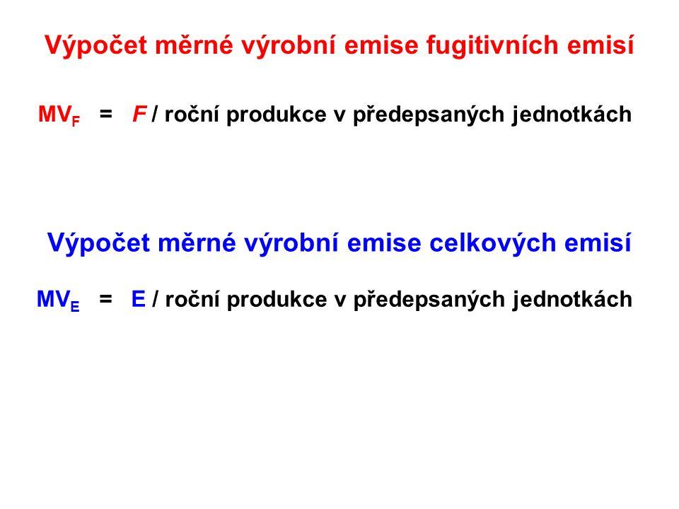 Výpočet měrné výrobní emise fugitivních emisí MV F = F / roční produkce v předepsaných jednotkách MV E = E / roční produkce v předepsaných jednotkách Výpočet měrné výrobní emise celkových emisí