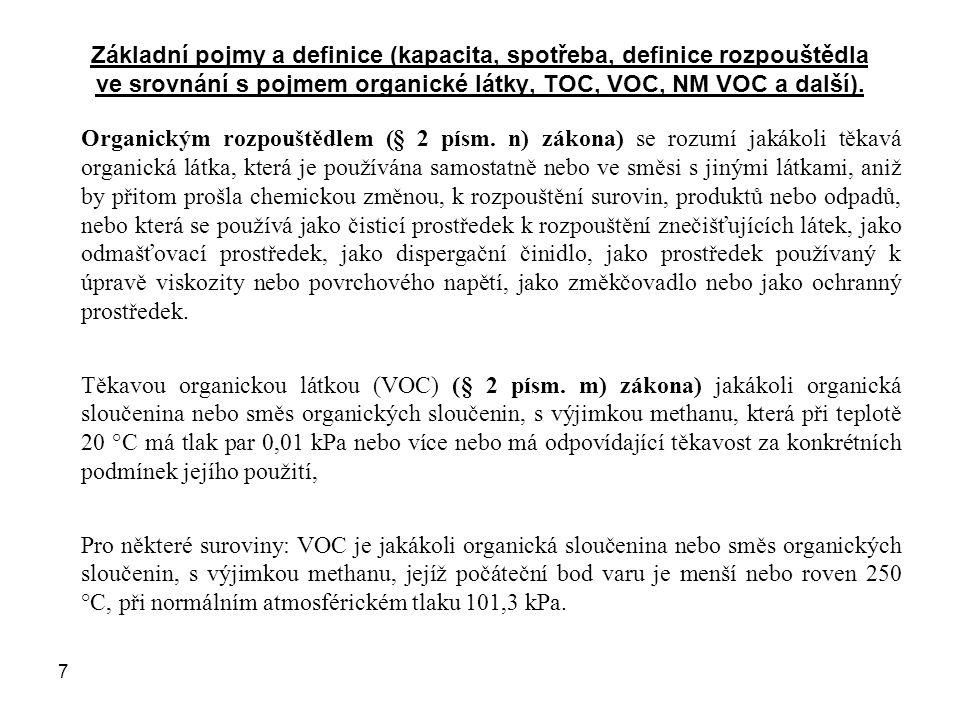 Základní pojmy a definice (kapacita, spotřeba, definice rozpouštědla ve srovnání s pojmem organické látky, TOC, VOC, NM VOC a další).