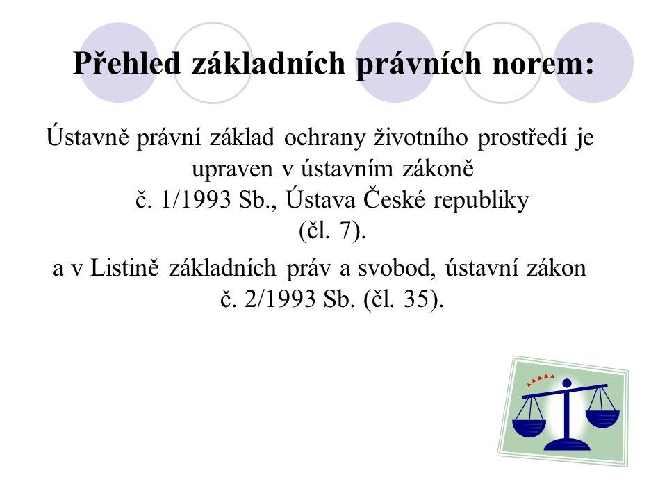 Přehled základních právních norem: Ústavně právní základ ochrany životního prostředí je upraven v ústavním zákoně č.