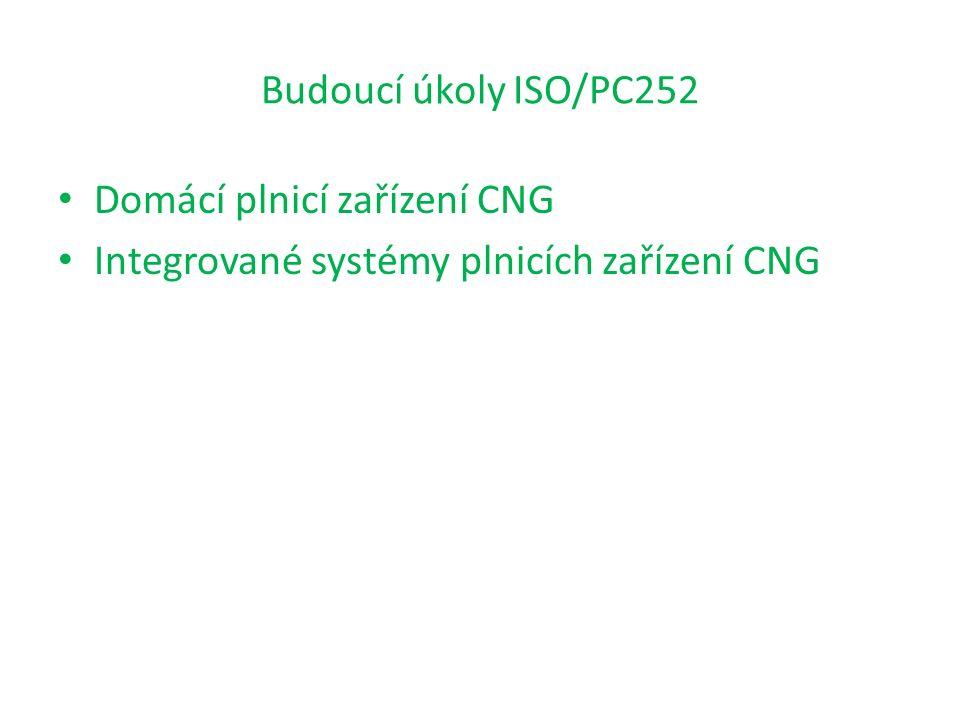 Budoucí úkoly ISO/PC252 Domácí plnicí zařízení CNG Integrované systémy plnicích zařízení CNG