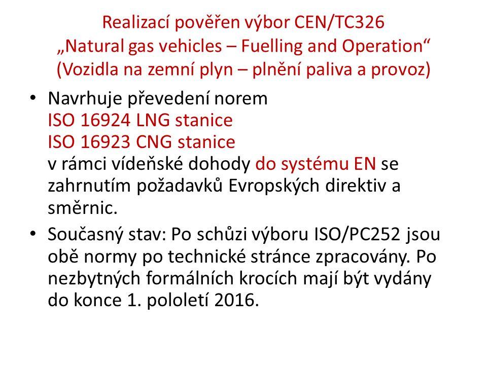 """Realizací pověřen výbor CEN/TC326 """"Natural gas vehicles – Fuelling and Operation (Vozidla na zemní plyn – plnění paliva a provoz) Navrhuje převedení norem ISO 16924 LNG stanice ISO 16923 CNG stanice v rámci vídeňské dohody do systému EN se zahrnutím požadavků Evropských direktiv a směrnic."""