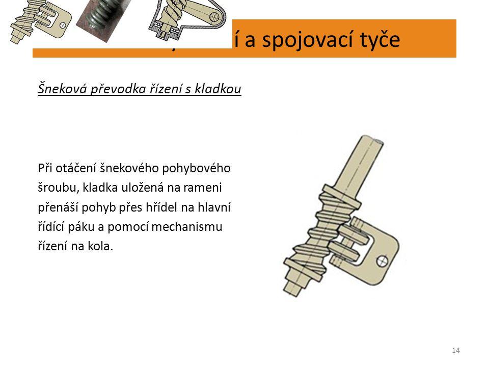 Převodky řízení a spojovací tyče 14 Šneková převodka řízení s kladkou Při otáčení šnekového pohybového šroubu, kladka uložená na rameni přenáší pohyb přes hřídel na hlavní řídící páku a pomocí mechanismu řízení na kola.