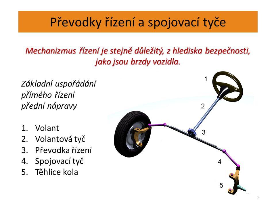 Převodky řízení a spojovací tyče 2 Mechanizmus řízení je stejně důležitý, z hlediska bezpečnosti, jako jsou brzdy vozidla.
