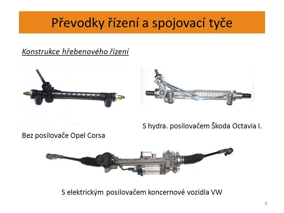 Převodky řízení a spojovací tyče 8 Konstrukce hřebenového řízení S hydra.