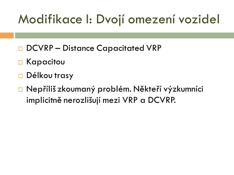Modifikace I: Dvojí omezení vozidel  DCVRP – Distance Capacitated VRP  Kapacitou  Délkou trasy  Nepříliš zkoumaný problém.