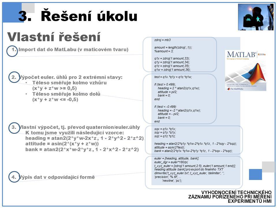 3.Řešení úkolu Vlastní řešení VYHODNOCENÍ TECHNICKÉHO ZÁZNAMU POŘÍZENÉHO PŘI MĚŘENÍ EXPERIMENTŮ HMI 1.Import dat do MatLabu (v maticovém tvaru) 2.Výpočet euler.