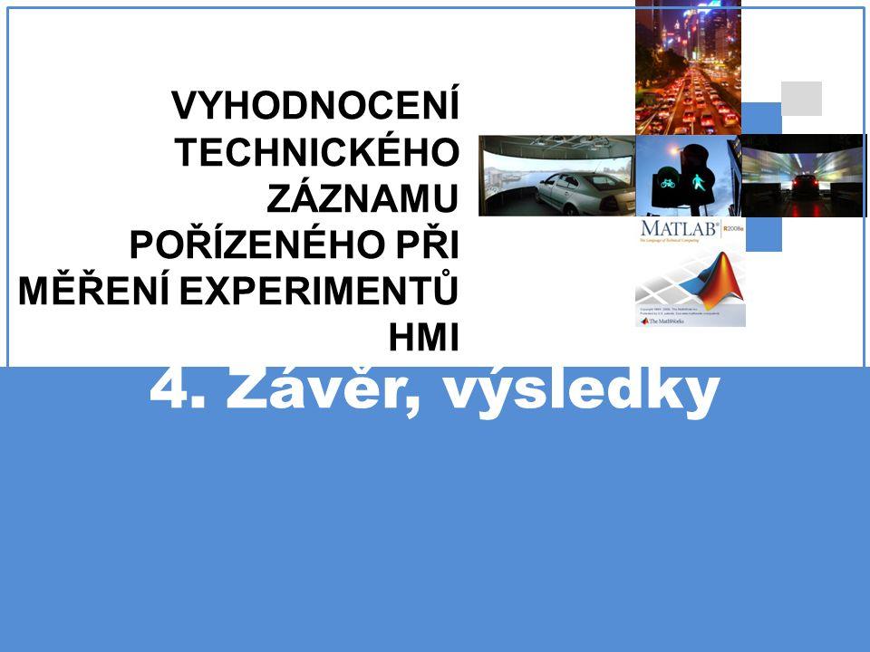 VYHODNOCENÍ TECHNICKÉHO ZÁZNAMU POŘÍZENÉHO PŘI MĚŘENÍ EXPERIMENTŮ HMI 4. Závěr, výsledky