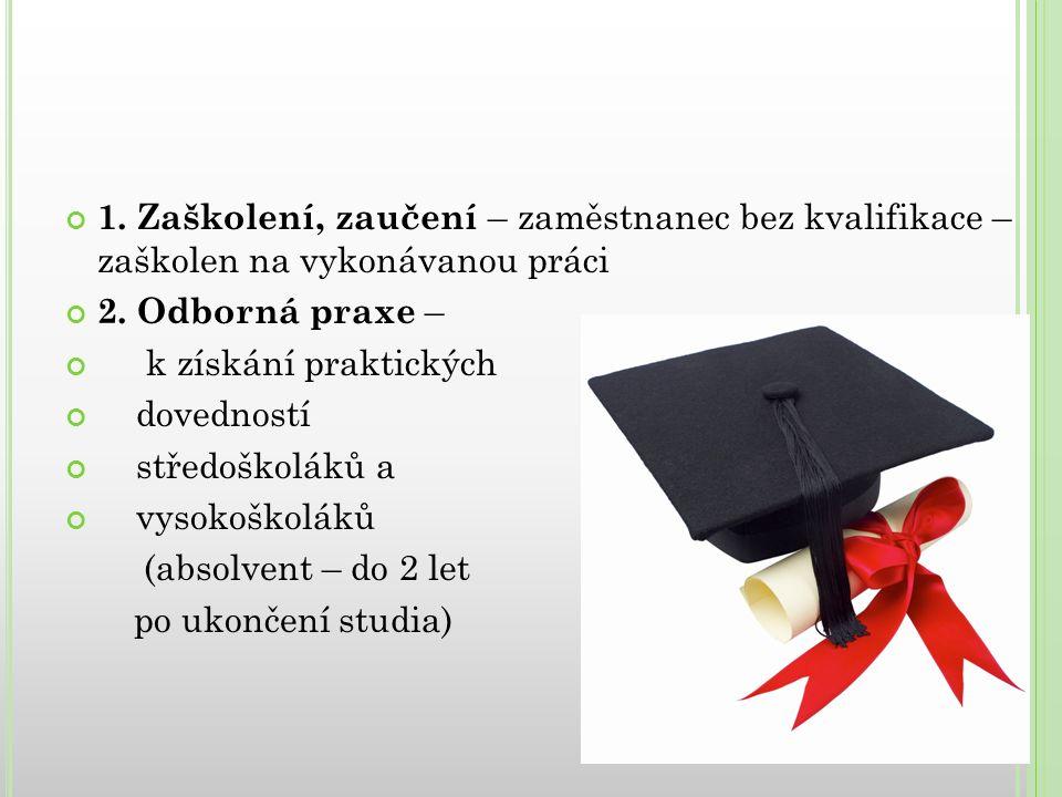 1. Zaškolení, zaučení – zaměstnanec bez kvalifikace – zaškolen na vykonávanou práci 2.