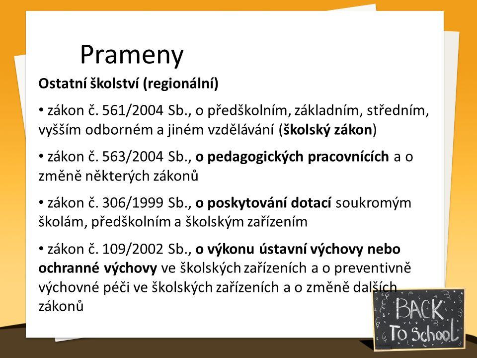 Prameny Ostatní školství (regionální) zákon č. 561/2004 Sb., o předškolním, základním, středním, vyšším odborném a jiném vzdělávání (školský zákon) zá