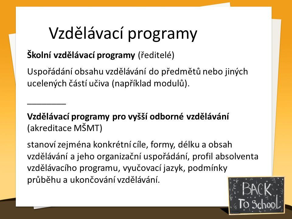 Vzdělávací programy Školní vzdělávací programy (ředitelé) Uspořádání obsahu vzdělávání do předmětů nebo jiných ucelených částí učiva (například modulů