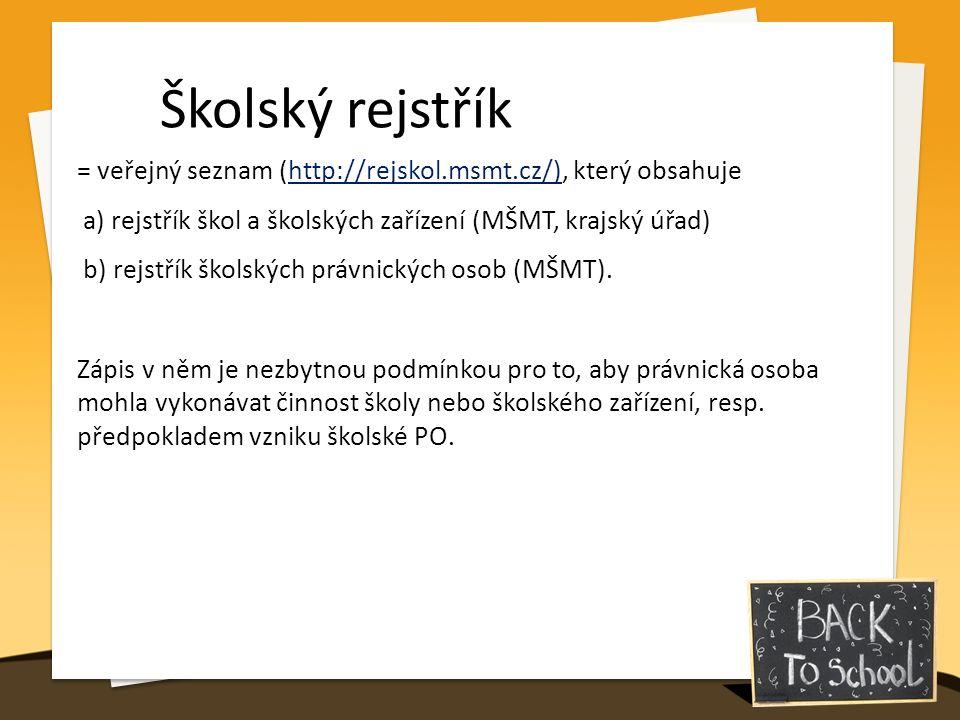 Školský rejstřík = veřejný seznam (http://rejskol.msmt.cz/), který obsahuje a) rejstřík škol a školských zařízení (MŠMT, krajský úřad) b) rejstřík školských právnických osob (MŠMT).
