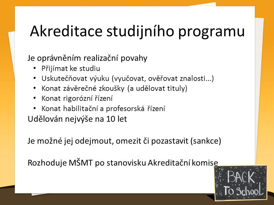 Akreditace studijního programu Je oprávněním realizační povahy Přijímat ke studiu Uskutečňovat výuku (vyučovat, ověřovat znalosti...) Konat závěrečné