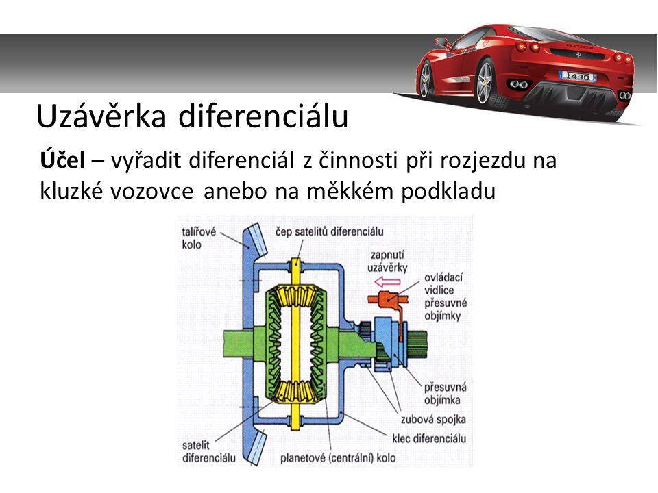 Účel – vyřadit diferenciál z činnosti při rozjezdu na kluzké vozovce anebo na měkkém podkladu Uzávěrka diferenciálu
