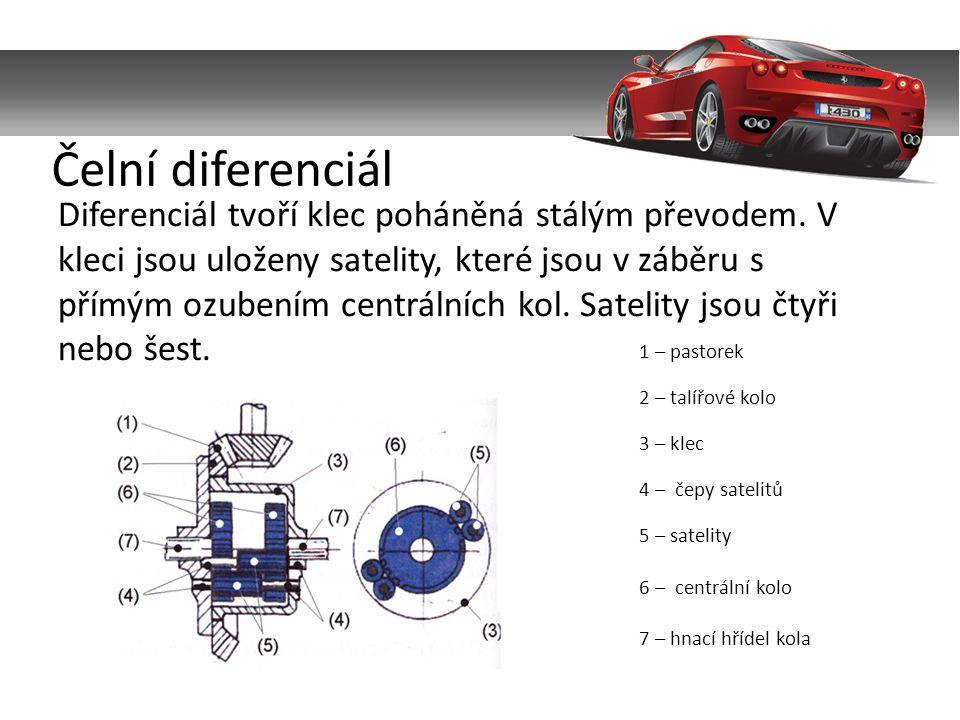 Diferenciál tvoří klec poháněná stálým převodem.