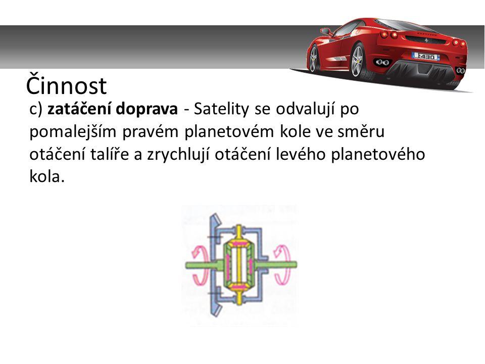 c) zatáčení doprava - Satelity se odvalují po pomalejším pravém planetovém kole ve směru otáčení talíře a zrychlují otáčení levého planetového kola.
