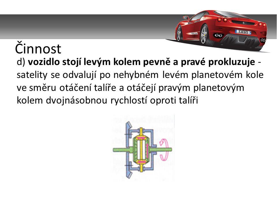 d) vozidlo stojí levým kolem pevně a pravé prokluzuje - satelity se odvalují po nehybném levém planetovém kole ve směru otáčení talíře a otáčejí pravým planetovým kolem dvojnásobnou rychlostí oproti talíři Činnost