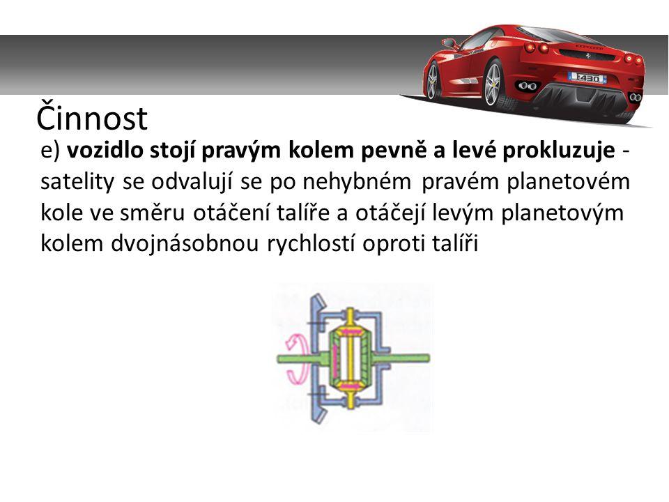 e) vozidlo stojí pravým kolem pevně a levé prokluzuje - satelity se odvalují se po nehybném pravém planetovém kole ve směru otáčení talíře a otáčejí levým planetovým kolem dvojnásobnou rychlostí oproti talíři Činnost