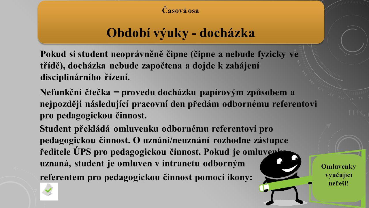 Pokud si student neoprávněně čipne (čipne a nebude fyzicky ve třídě), docházka nebude započtena a dojde k zahájení disciplinárního řízení. Časová osa