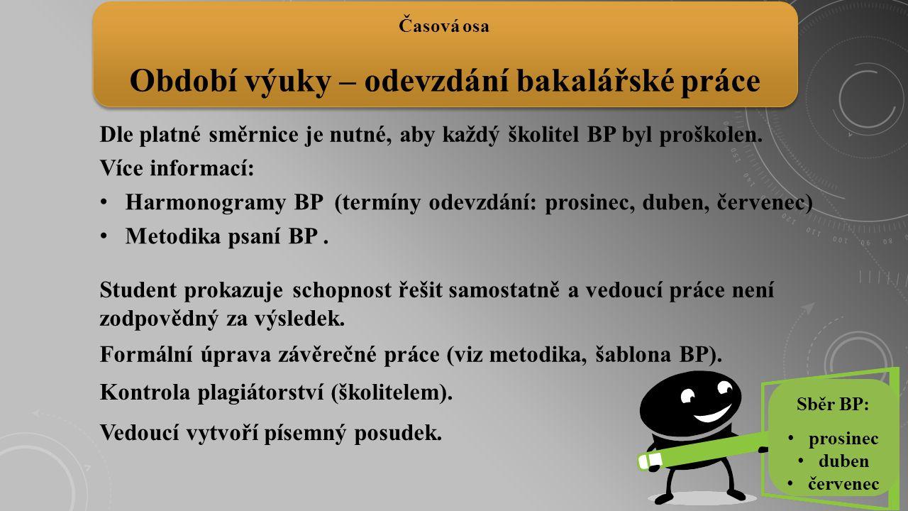 Dle platné směrnice je nutné, aby každý školitel BP byl proškolen. Časová osa Období výuky – odevzdání bakalářské práce Sběr BP: prosinec duben červen