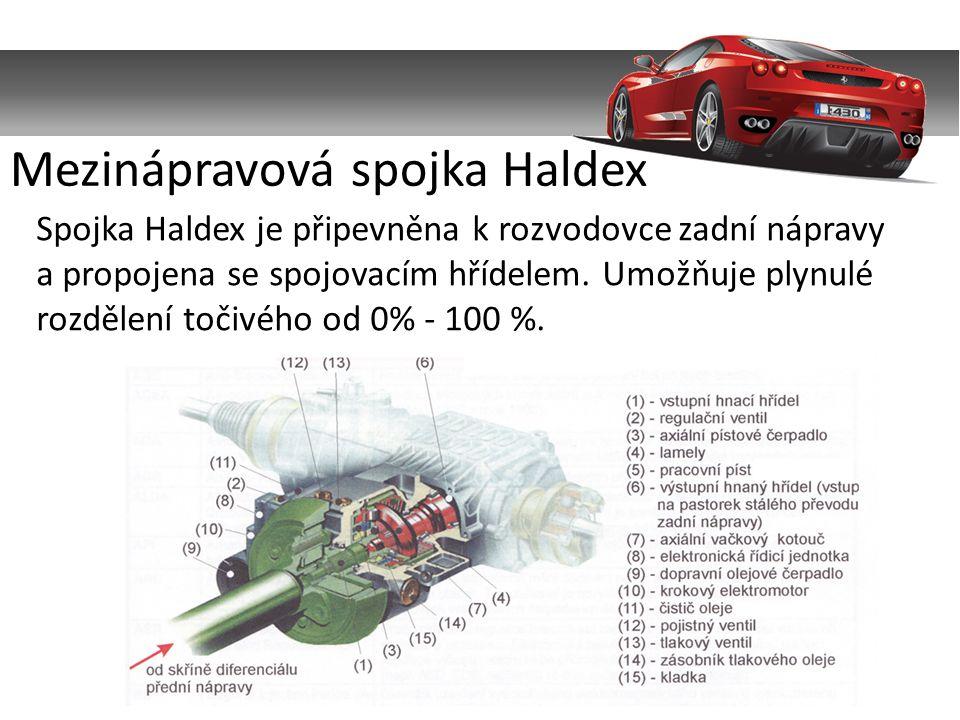 Spojka Haldex je připevněna k rozvodovce zadní nápravy a propojena se spojovacím hřídelem.