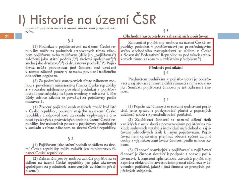 I) Historie na území ČSR 31