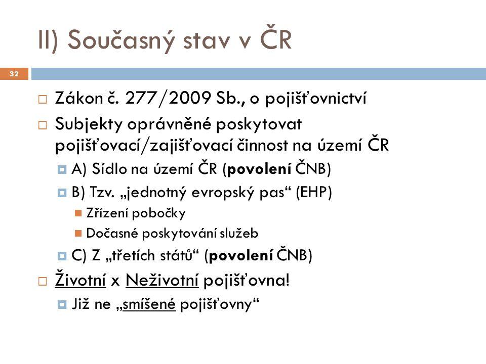 II) Současný stav v ČR  Zákon č.