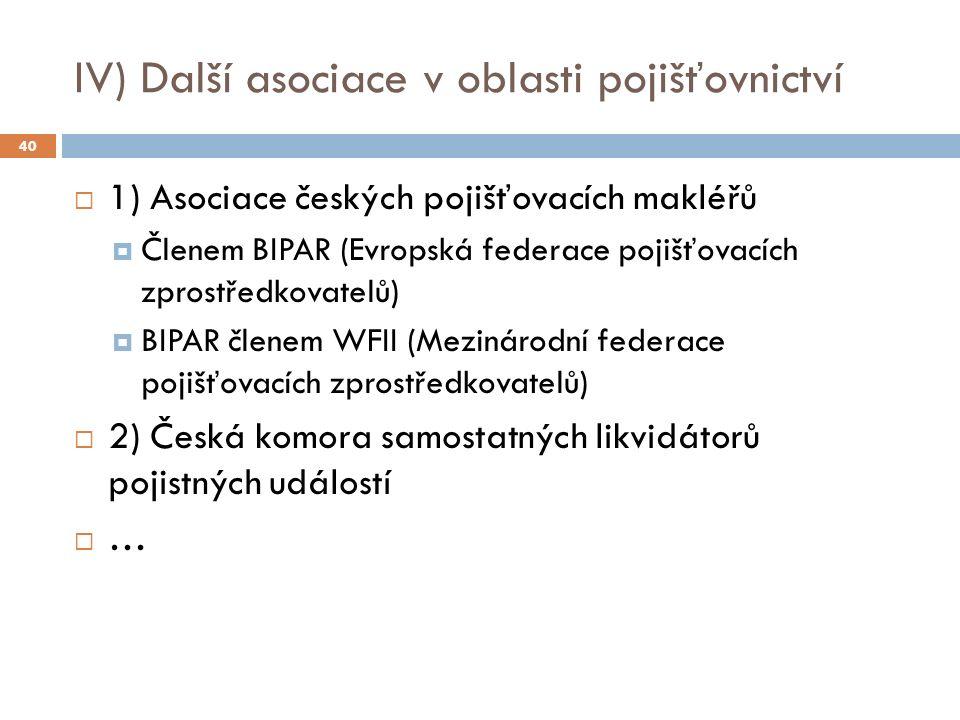 IV) Další asociace v oblasti pojišťovnictví  1) Asociace českých pojišťovacích makléřů  Členem BIPAR (Evropská federace pojišťovacích zprostředkovatelů)  BIPAR členem WFII (Mezinárodní federace pojišťovacích zprostředkovatelů)  2) Česká komora samostatných likvidátorů pojistných událostí  … 40