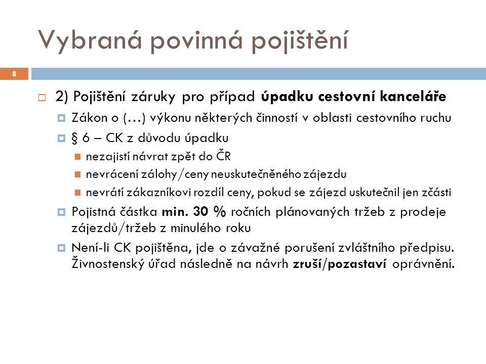 III) Česká asociace pojišťoven  Působnost ČAP  Připomínky k právním předpisům  Vytvářet nástroje zábrany škod a pojistných podvodů  Informovat veřejnost o vývoji pojistného trhu  Pořádání vzdělávacích akcí  Spolupráce mezi členy (výměna informací, sjednocování technických postupů…)  …  Od 1998 členem Evropské pojišťovací a zajišťovací federace (CEA), nově Insurance Europe  Insurance Europe (od 2011)  Sdružuje národní asociace pojistitelů (…)  Reprezentuje zájmy členů, spolupráce mezi členy  Statistické databáze, informování veřejnosti,… 39