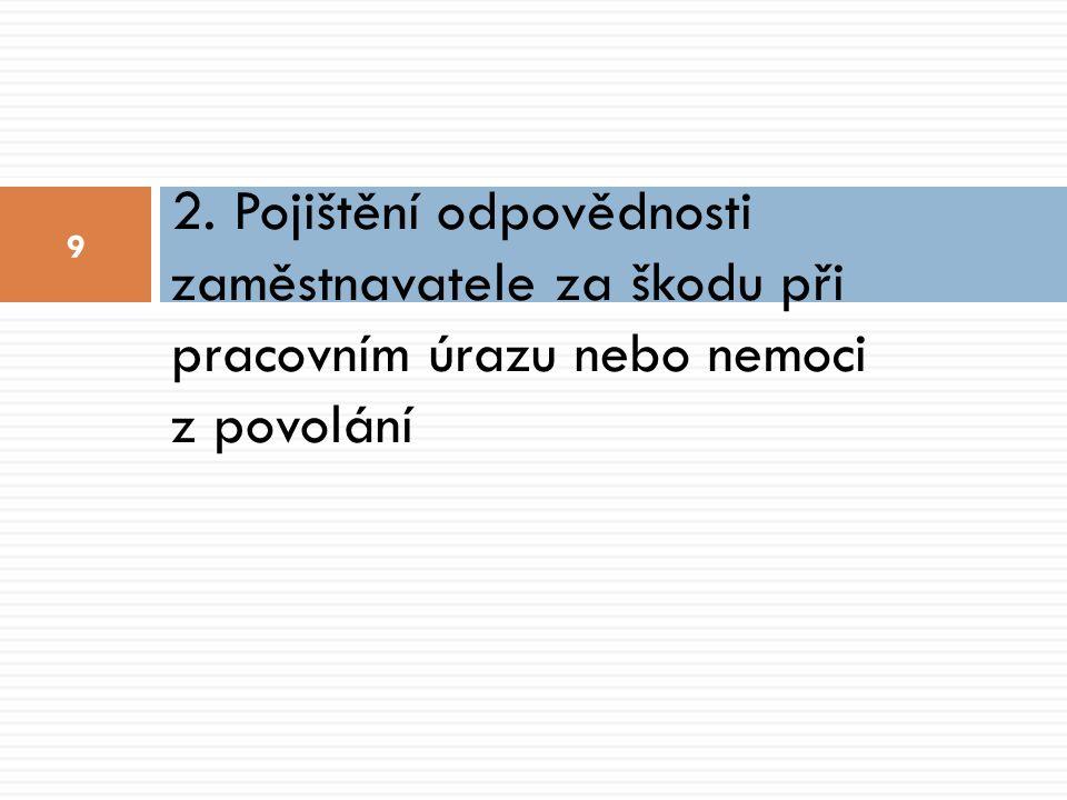 Pojištění odpovědnosti zaměstnavatele za škodu při pracovním úrazu nebo nemoci z povolání 10  Povinné smluvní pojištění x zákonné pojištění  Právní úprava  Zákon č.