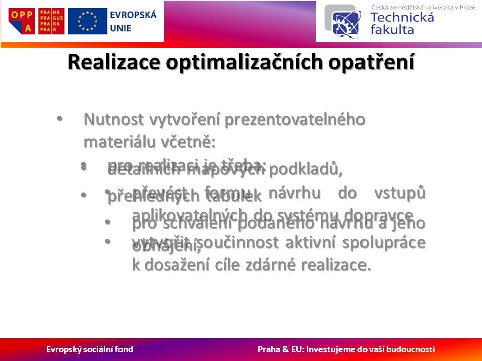 Evropský sociální fond Praha & EU: Investujeme do vaší budoucnosti pro realizaci je třeba: pro realizaci je třeba: převést formu návrhu do vstupů aplikovatelných do systému dopravce převést formu návrhu do vstupů aplikovatelných do systému dopravce vytvořit součinnost aktivní spolupráce k dosažení cíle zdárné realizace.