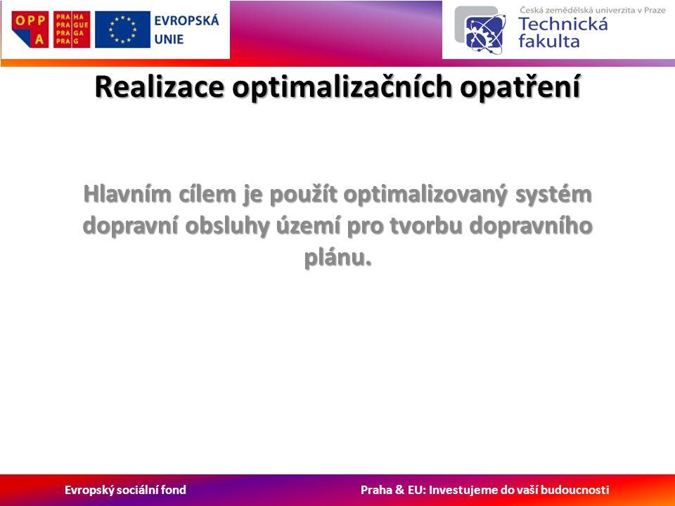 Evropský sociální fond Praha & EU: Investujeme do vaší budoucnosti Realizace optimalizačních opatření Hlavním cílem je použít optimalizovaný systém dopravní obsluhy území pro tvorbu dopravního plánu.