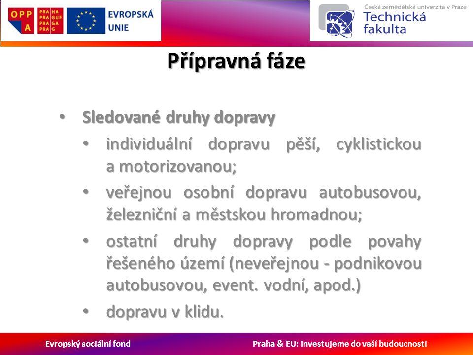 Evropský sociální fond Praha & EU: Investujeme do vaší budoucnosti Přípravná fáze Sledované druhy dopravy Sledované druhy dopravy individuální dopravu pěší, cyklistickou a motorizovanou; individuální dopravu pěší, cyklistickou a motorizovanou; veřejnou osobní dopravu autobusovou, železniční a městskou hromadnou; veřejnou osobní dopravu autobusovou, železniční a městskou hromadnou; ostatní druhy dopravy podle povahy řešeného území (neveřejnou - podnikovou autobusovou, event.