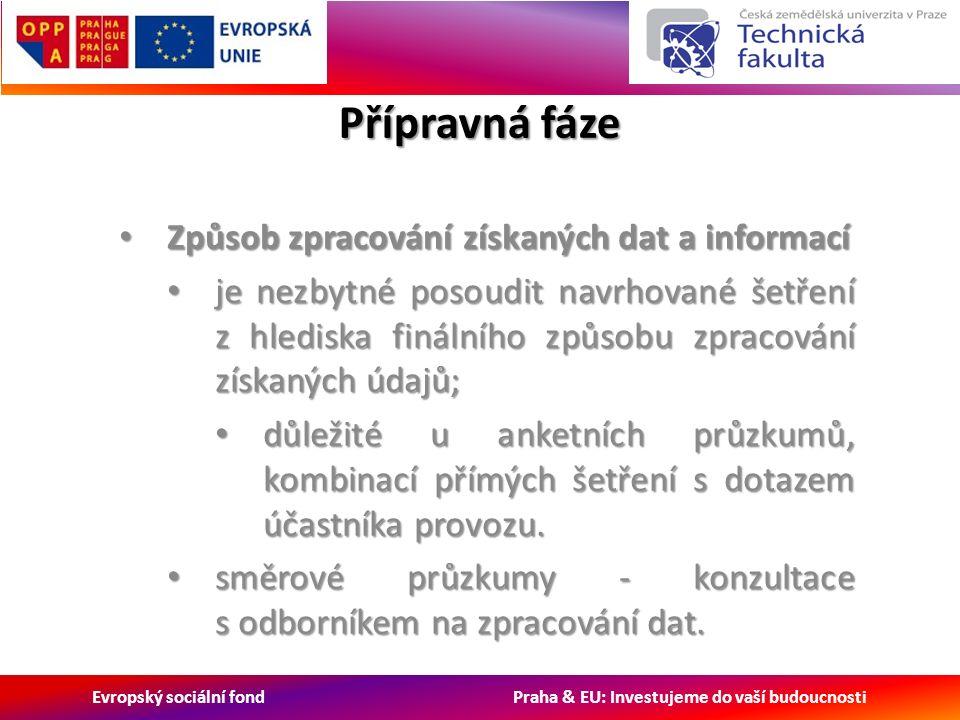 Evropský sociální fond Praha & EU: Investujeme do vaší budoucnosti Přípravná fáze Způsob zpracování získaných dat a informací Způsob zpracování získaných dat a informací je nezbytné posoudit navrhované šetření z hlediska finálního způsobu zpracování získaných údajů; je nezbytné posoudit navrhované šetření z hlediska finálního způsobu zpracování získaných údajů; důležité u anketních průzkumů, kombinací přímých šetření s dotazem účastníka provozu.